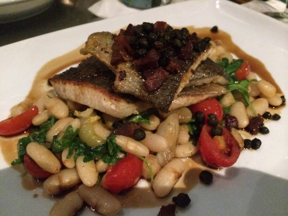 Trout over Cannellini  Bean and Tomato Balsamic Salad