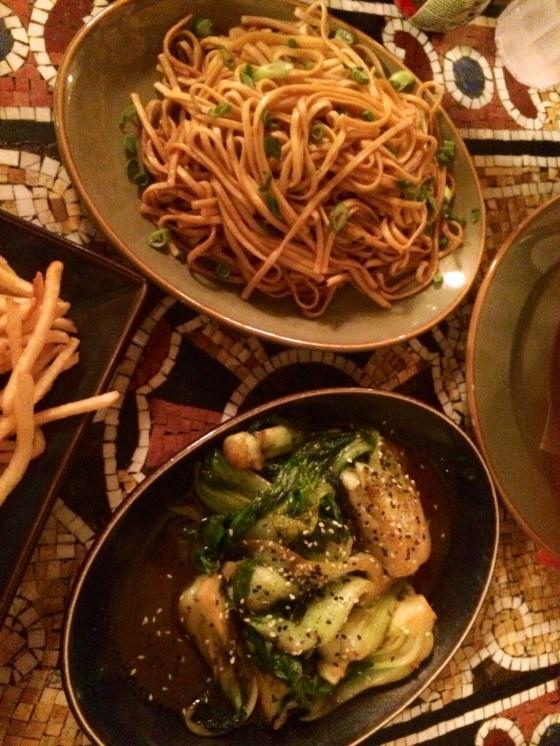 Garlic Noodles and Bok Choy