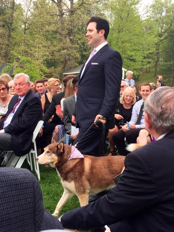 Helen's brother walked Rusty down the aisle!