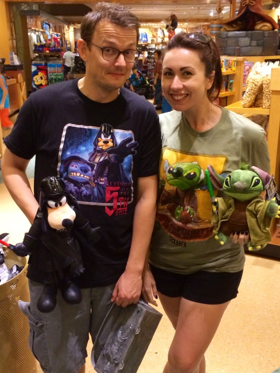 Plush toys matching shirts.